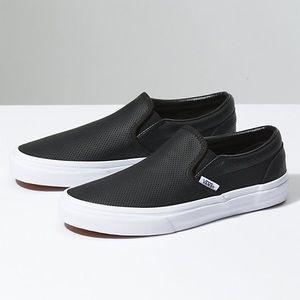 Black Leather Slip On Vans